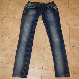 MISS ME Skinny Dark Rhinestone Distressed Jeans 31
